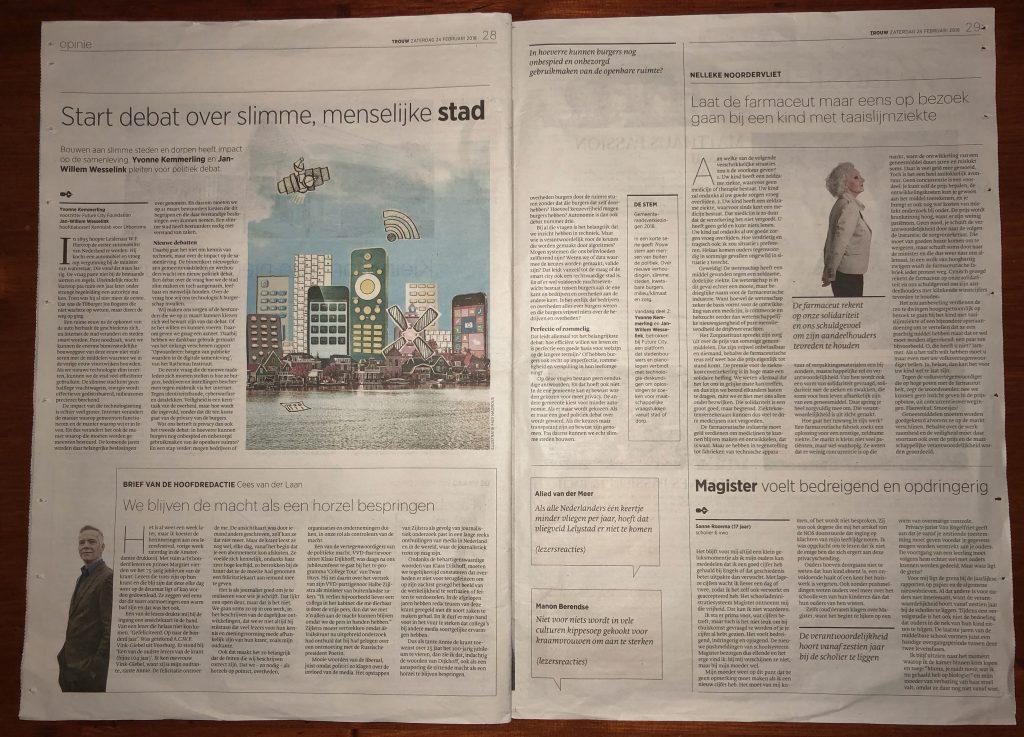 """In Trouw: """"Start debat over slimme, menselijke stad"""""""